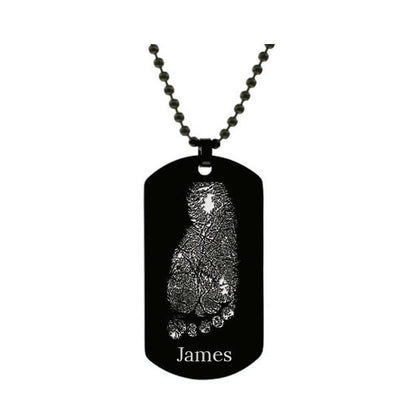 Stainless Steel Footprint Dog Tag Black Style 1 - AydinsJewelry