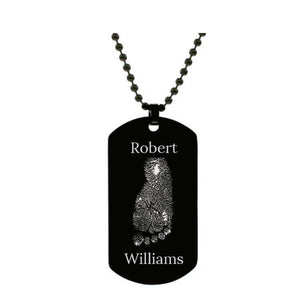 Stainless Steel Footprint Dog Tag Black Style 2 - AydinsJewelry