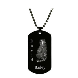 Stainless Steel Footprint Dog Tag Black Style 3 - AydinsJewelry