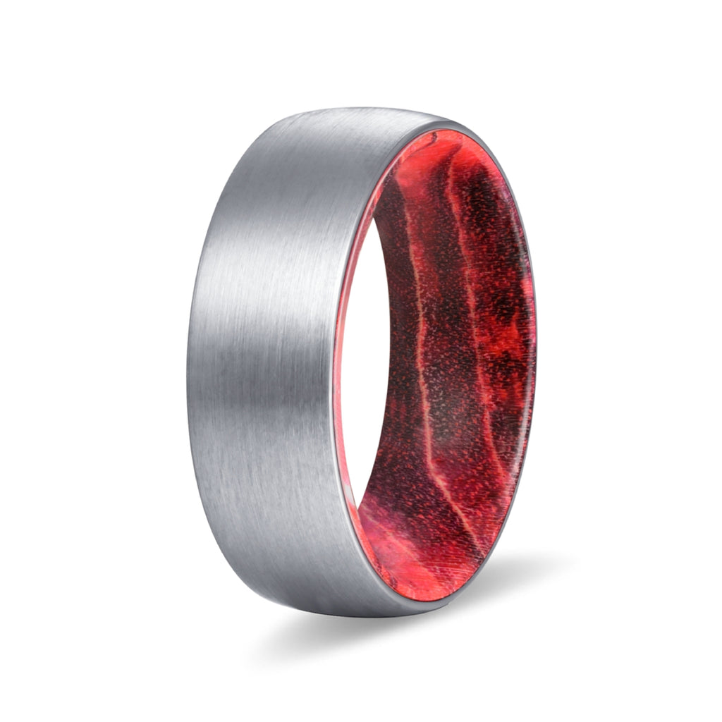 BEACON Silver Tungsten Domed Brushed Finish with Black and Red Box Elder Wood Sleeve