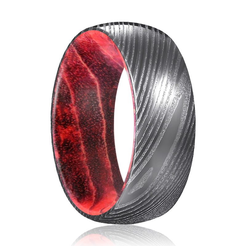 TRIMAX Gunmetal Damascus Steel Ring with Black and Red Box Elder Inside Wood Ring