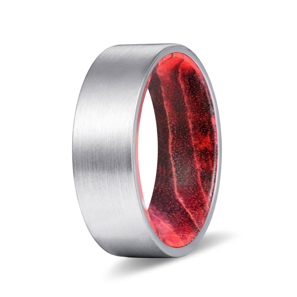 Silver Flat Tungsten Brushed Finish with Black and Red Box Elder Wood Inlay Ring