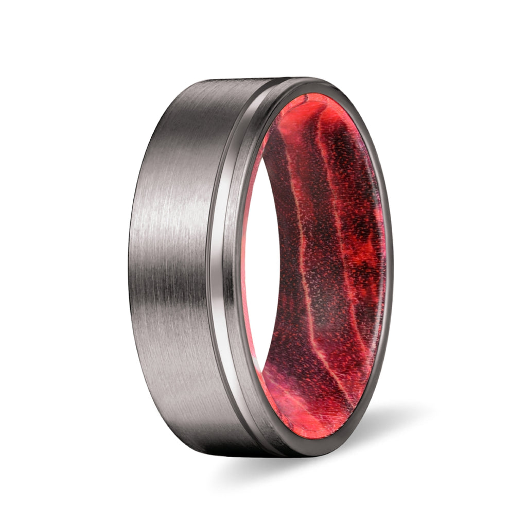 Gunmetal Flat Grooved Ring with Black and Red Box Elder Wood Sleeve Inlay