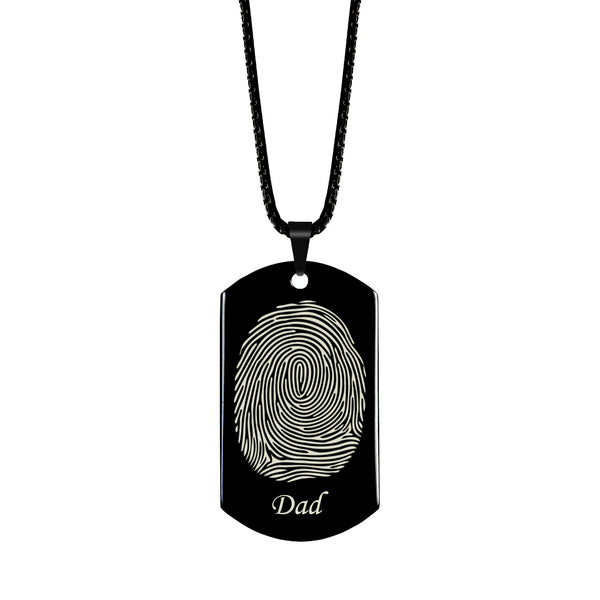 Fingerprint Dog Tag with Name High Polished