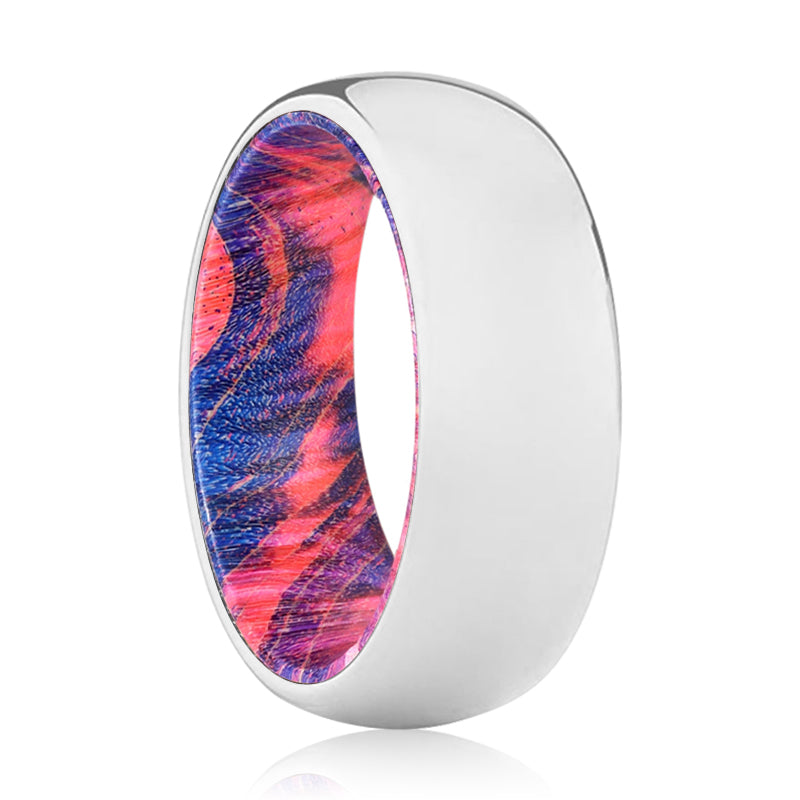 ANGELIC Tungsten Silver Shiny with Blue and Red Box Elder Wood Ring