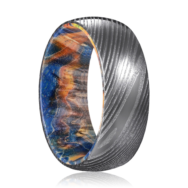 LUKE Gunmetal Damascus Steel Ring with Blue and Yellow Box Elder Inside Wood Ring