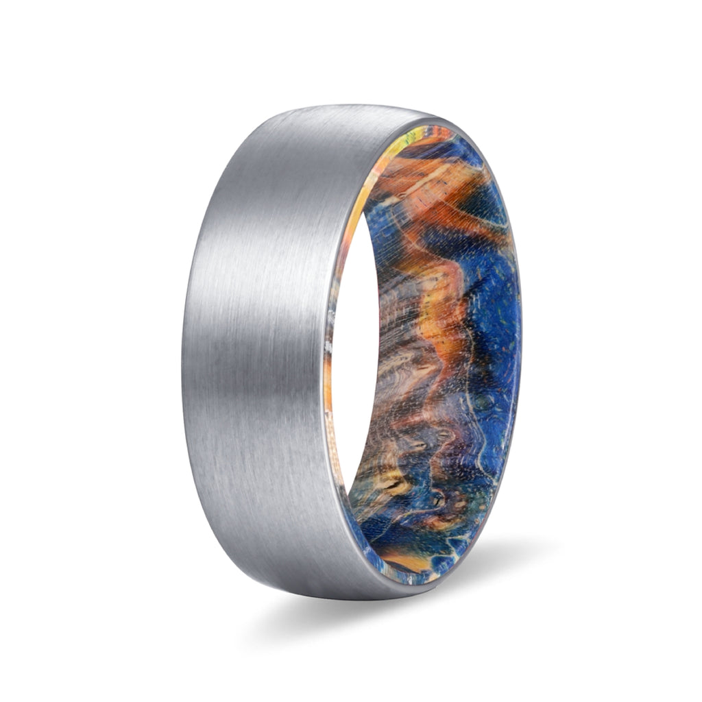 Silver Tungsten Domed Brushed Finish with Blue and Yellow Box Elder Wood Sleeve
