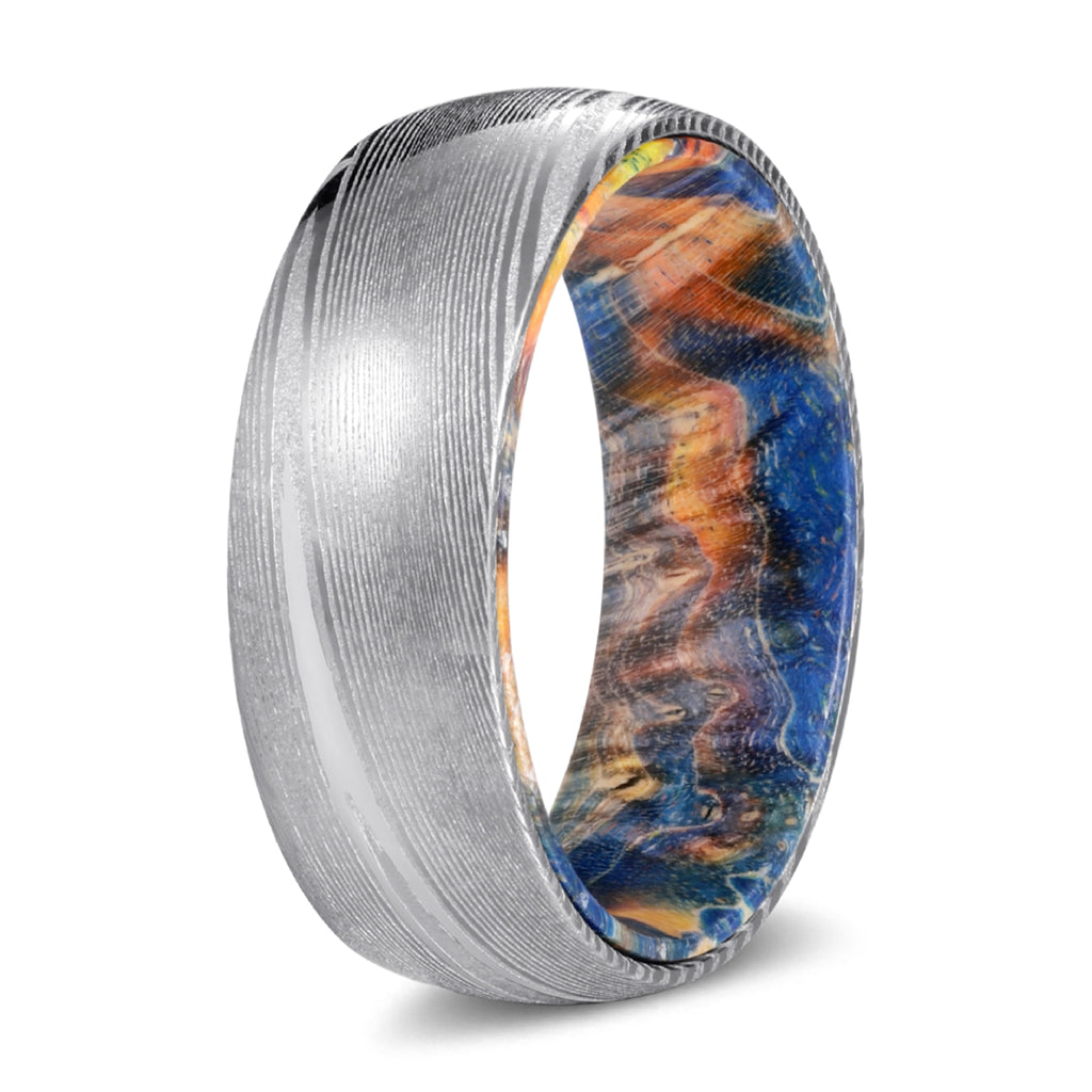Genuine Damascus Steel Silver Ring with Blue and Yellow Box Elder Wood Sleeve Inlay