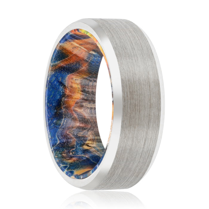 CARLOS Tungsten Silver Beveled with Blue and Yellow Box Elder Inside Wood Ring