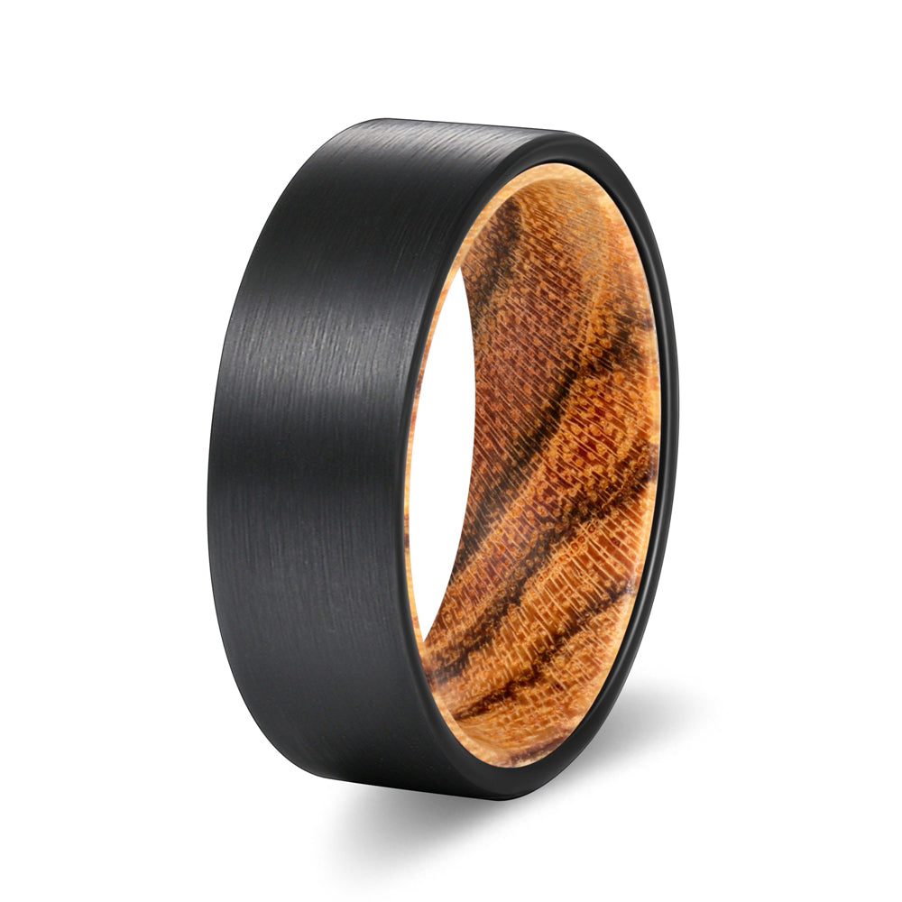 Flat Black Tungsten Brushed Finish with a Comfort-Fit Bocote Wood Sleeve Inlay Ring