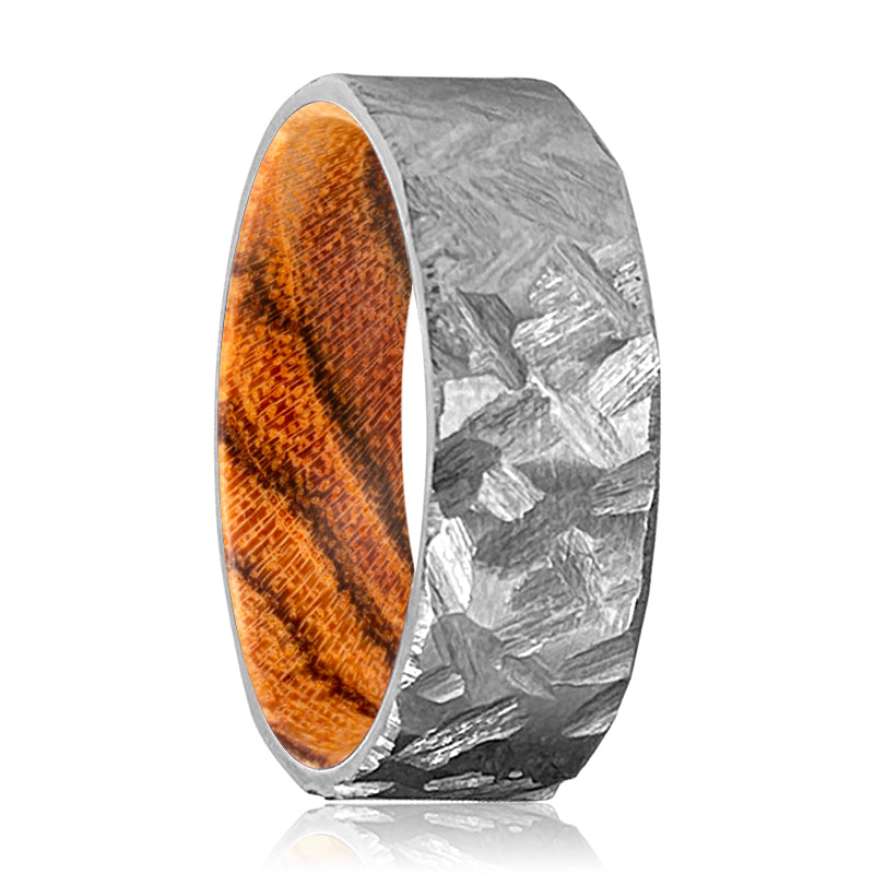 TANNER Silver Hammered Titanium Ring with a Comfort-Fit Bocote Wood Sleeve Inlay Ring