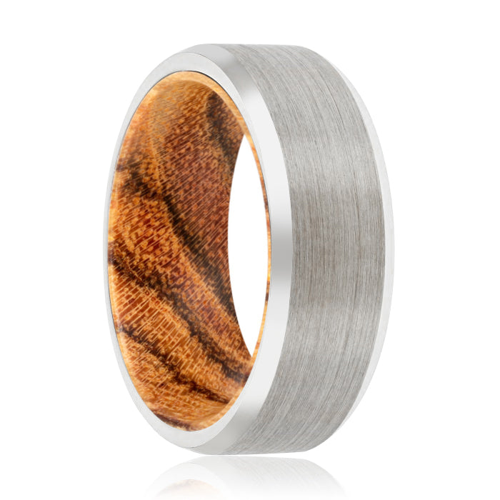 FUDGE Tungsten Silver Beveled with a Comfort-Fit Bocote Wood Sleeve Inlay Ring