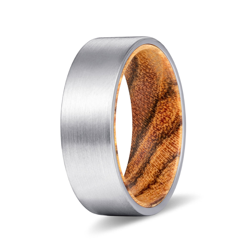Silver Flat Tungsten Brushed Finish with Bocote Wood Inlay Ring