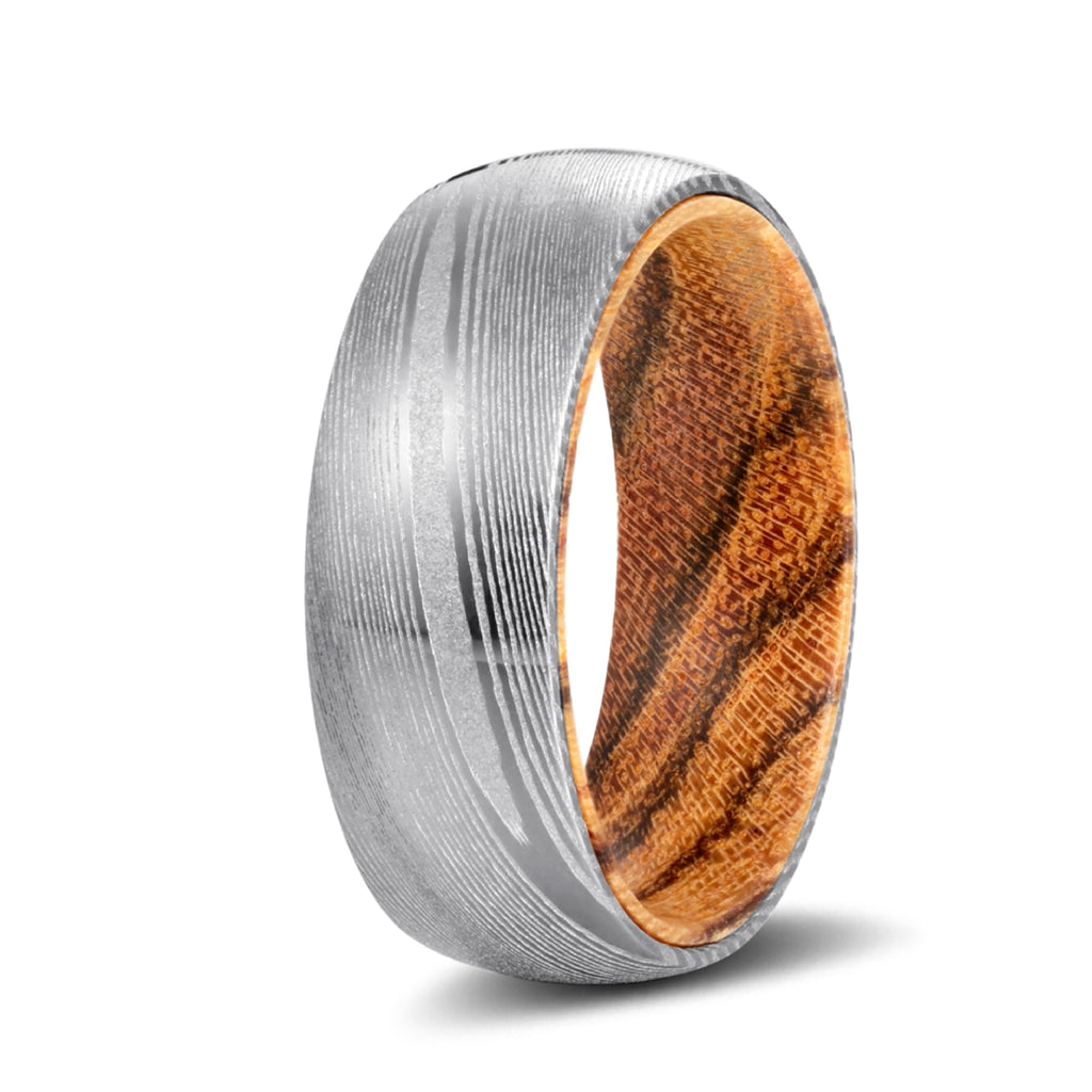 Genuine Damascus Steel Silver Ring with Bocote Wood Sleeve Inlay