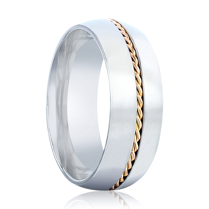 CHRISTIAN Titanium Domed Polished Men 's Wedding Ring With 14k Yellow Gold Braided Inlay - 8mm