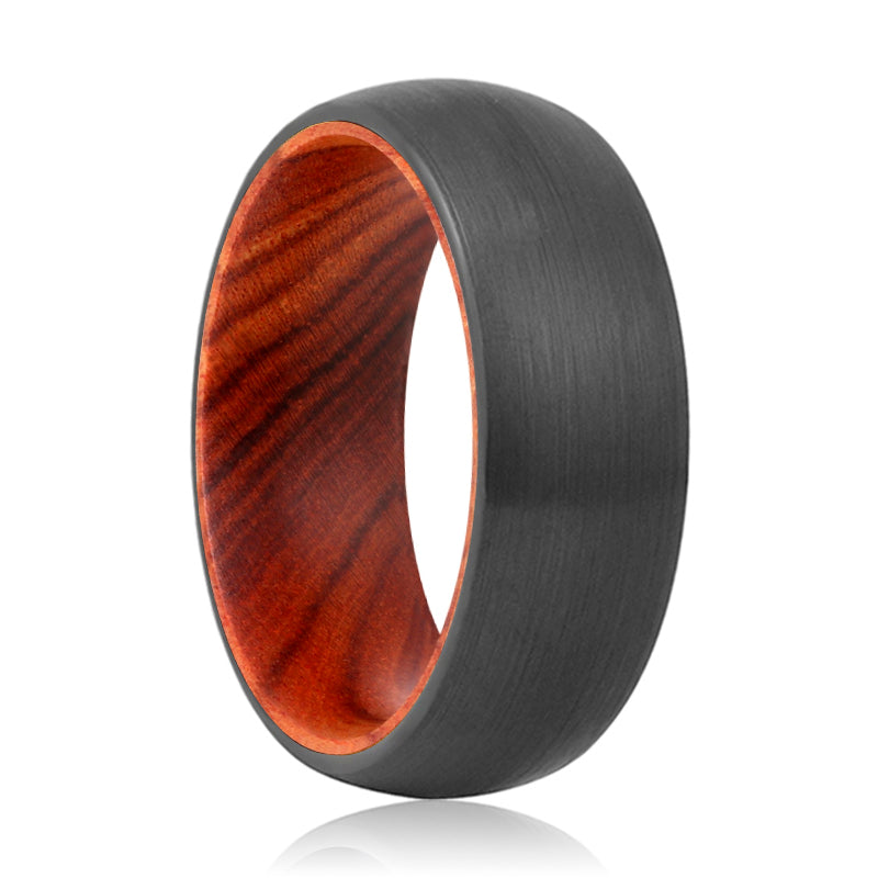 DRURY Tungsten Black Domed with a Comfort-Fit Iron Wood Sleeve Inlay Ring