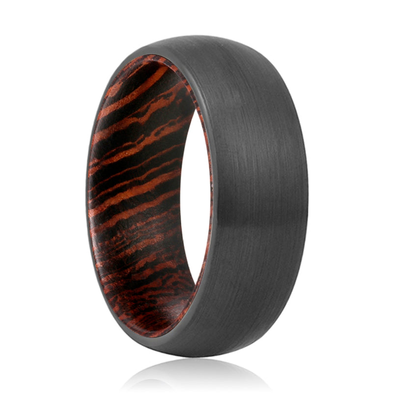 ANGELIC Tungsten Black Domed with a Comfort-Fit Wenge Wood Sleeve Inlay Ring