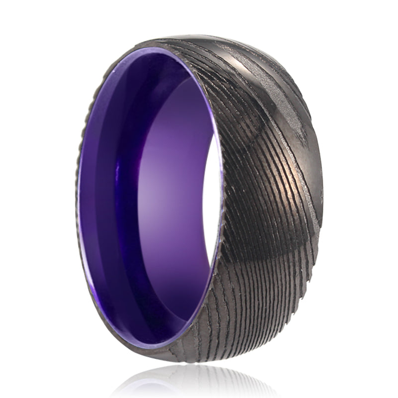 Gunmetal Damascus Ring with Purple Inside Aluminum.