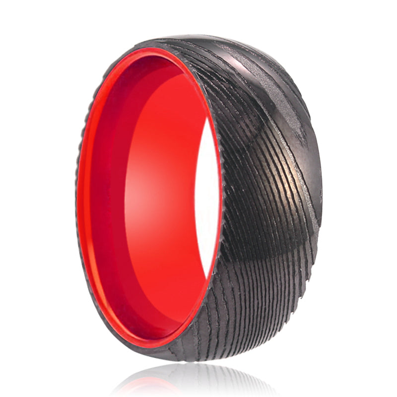 Gunmetal Damascus Ring with Red Inside Aluminum.