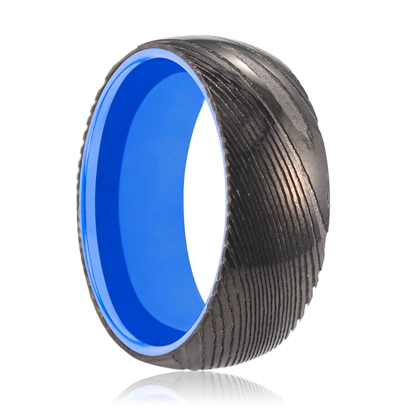 MEGAMIND Gunmetal Damascus Ring with Blue Inside Aluminum.