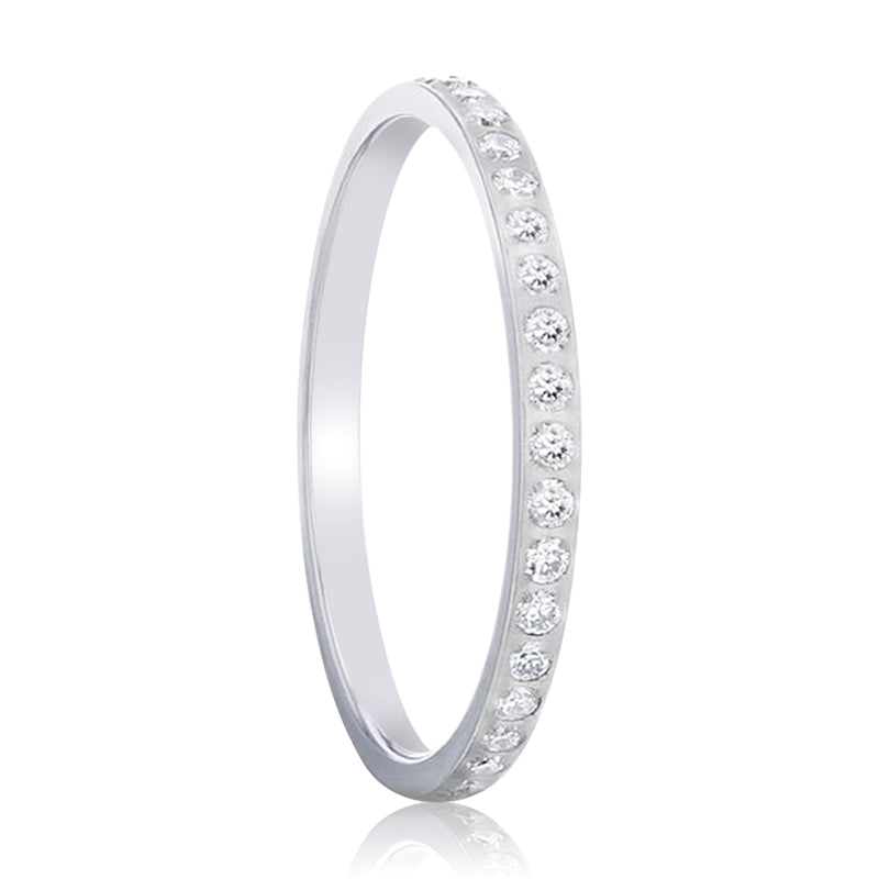 EMILIA Flat Polished Titanium Women's Wedding Ring With Small Lab-Created White Diamonds Setting