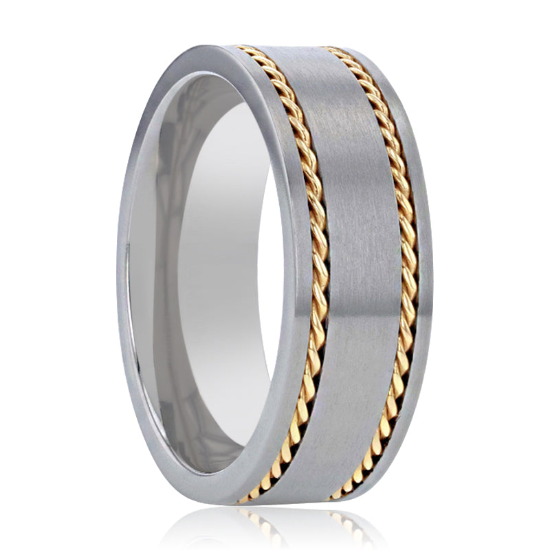 FERDINAND Titanium Brushed Finish Flat Men's Wedding Ring With 14K Yellow Gold Dual Braided Inlay - 8mm