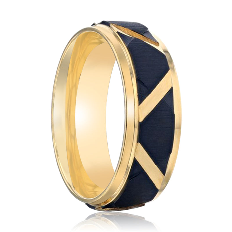 FLEMING Yellow Gold Plated Flat Polished Step Edged Titanium Men's Wedding Band With Matte Black Raised Horizontal Etches and Gold-Plated Diagonal-Shape Cut Inlay - 8mm