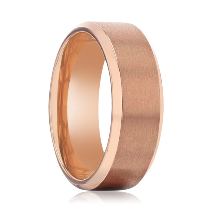 GLORY Rose Gold Plated Brushed Finish Center Titanium Men's Wedding Band With Polished Beveled Edges - 8mm