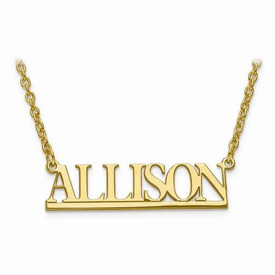 Sterling Silver Small Laser Polished Nameplate W/ Chain - AydinsJewelry