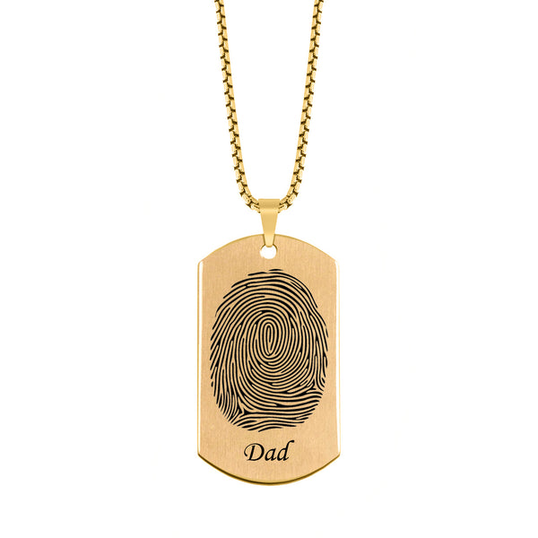 Brushed Fingerprint with Name Memorial Dog Tag