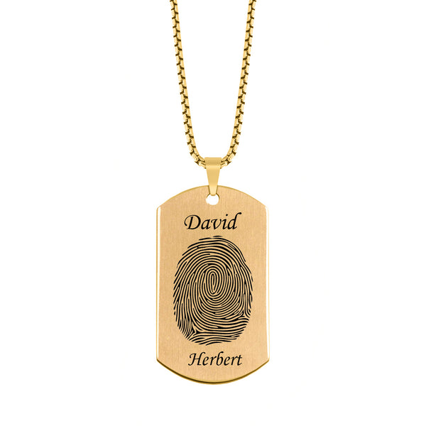 Brushed Fingerprint Dog Tag w/ First and Last Name