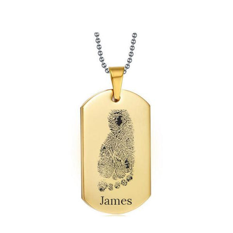 Stainless Steel Footprint Dog Tag Gold Style 1 - AydinsJewelry