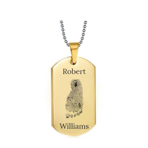 Stainless Steel Footprint Dog Tag Gold Style 2 - AydinsJewelry