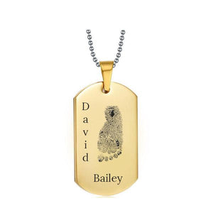 Stainless Steel Footprint Dog Tag Gold Style 3 - AydinsJewelry