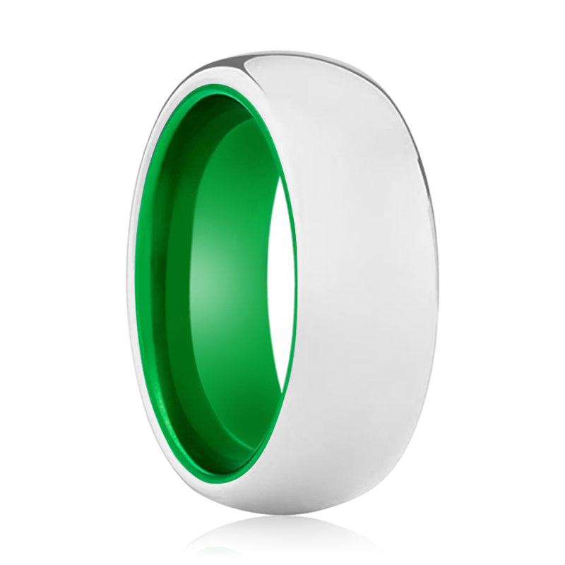 NEZARA Tungsten Silver Shiny and Green Inside Aluminum Ring