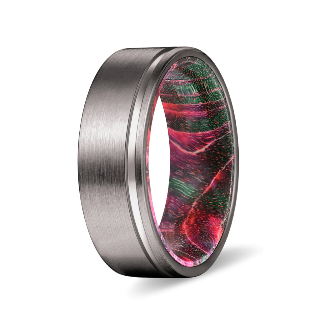 Gunmetal Flat Grooved Ring with Green and Red Box Elder Wood Sleeve Inlay
