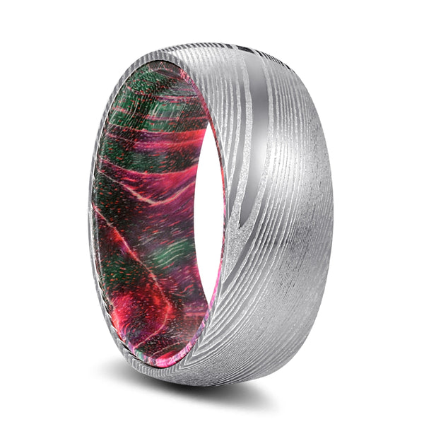 Genuine Damascus Steel Silver Ring with Green and Red Box Elder Wood Sleeve Inlay