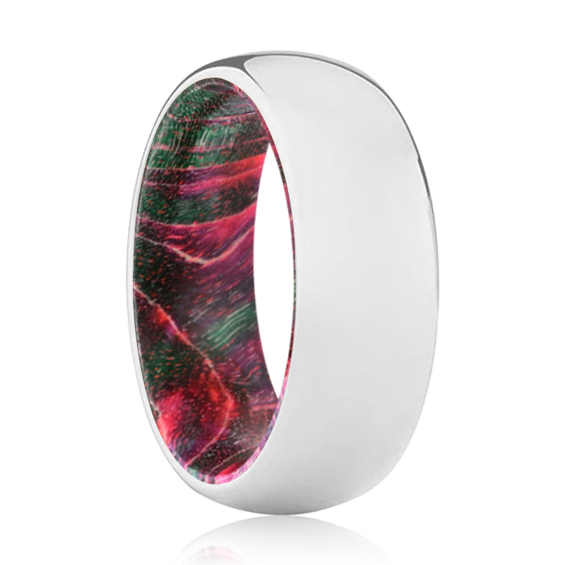 SERENITY Tungsten Silver Shiny with Green and Red Box Elder Wood Ring