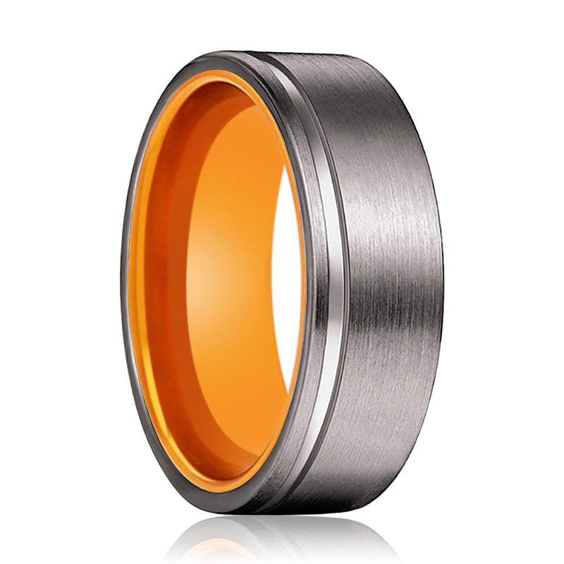 TANG Gunmetal Flat Grooved and Orange Inside Aluminum Ring