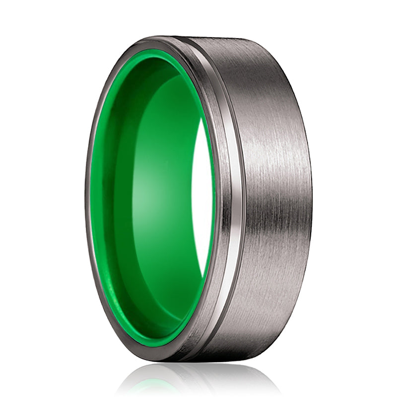 RIBBET Gunmetal Flat Grooved and Green Inside Aluminum Ring