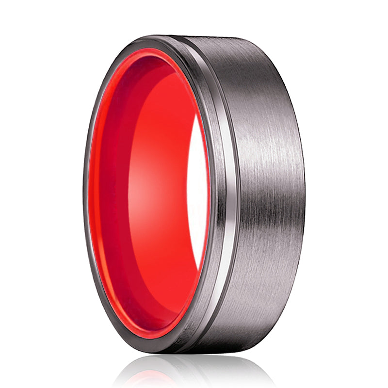 Gunmetal Flat Grooved and Red Inside Aluminum Ring