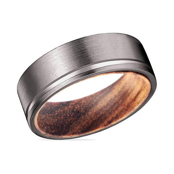 SPARKS Gunmetal Flat Grooved Ring with Zebra Wood Sleeve Inlay Ring
