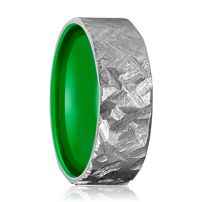 HORNET Silver Hammered Titanium Ring with Green Inside Aluminum Ring