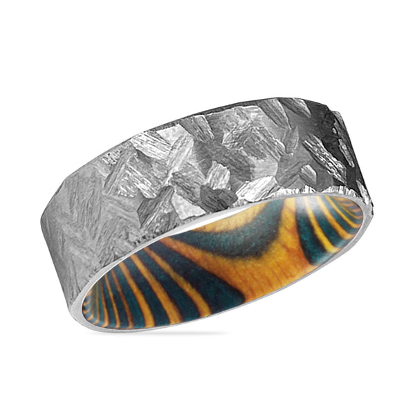 HOLLOW Silver Hammered Titanium Ring with Green and Yellow Box Elder Wood Ring