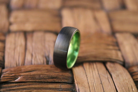 Image of LAMBO Domed Acid Greene & Black Tungsten Wedding Band Brushed Finished - Rings - Aydins_Jewelry
