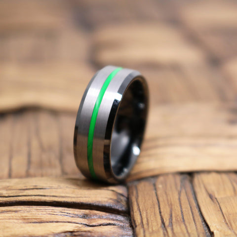 Image of NITRO Men's Tungsten Wedding Band with Green Grooved in Silver Brushed Center
