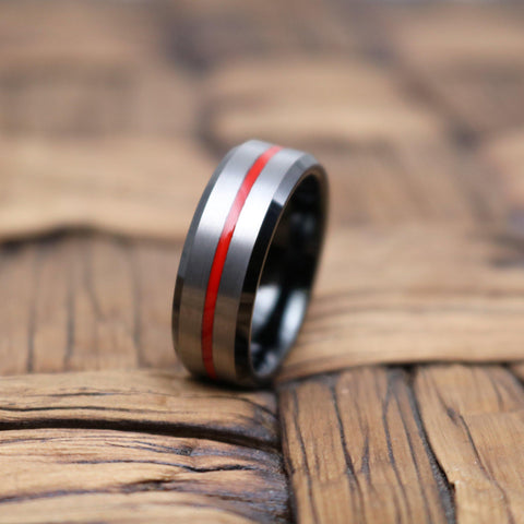 Image of SCORCH Men's Beveled Black Tungsten Wedding Band with Red Grooved Center Brushed Finish - 8MM