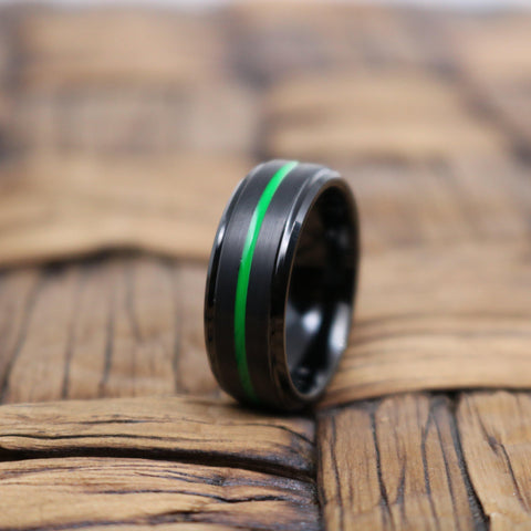 Image of REAPER Green Grooved Black Tungsten Men's Wedding Band With Brushed Finish