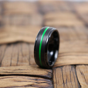 REAPER Green Grooved Black Tungsten Men's Wedding Band With Brushed Finish