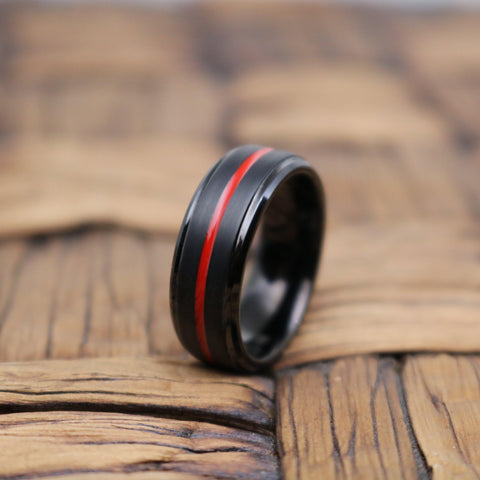BATMOBILE Black Brushed Tungsten Men's Wedding Band Red Grooved Center - Rings - Aydins_Jewelry